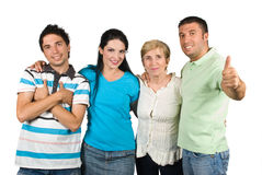 Successful happy family. Successful family with single mother ,sons and daughter,one of boys giving thumb up and all group smiling isolated on white background stock photo