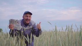 A successful happy young farmer has a lot of money. The concept of success of business in agriculture. A successful happy farmer has a lot of money. The concept stock footage