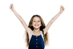 Successful happy little girl amrs raised Royalty Free Stock Photography
