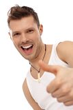 Successful happy man in undershirt Stock Images