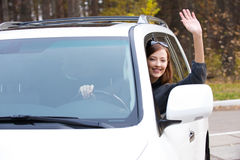 Successful happy woman in the new car Royalty Free Stock Photo