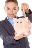 Successful happy woman saving her money Stock Image