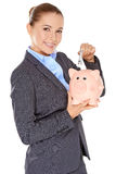 Successful happy woman saving her money Stock Photos