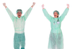 Successful healthcare workers. Details successful healthcare workers on white background Stock Photos