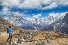 Successful hiker in Himalayas Stock Photo