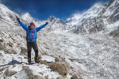 Successful hiker in Himalayas Royalty Free Stock Photography
