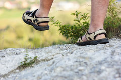 Successful hiker legs walking on mountain peak rock. Adventure a. Nd exercising in summer nature Stock Photos