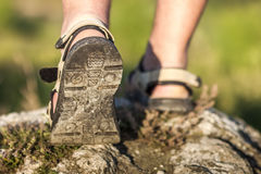 Successful hiker legs walking on mountain peak rock. Adventure a. Nd exercising in summer nature Stock Images
