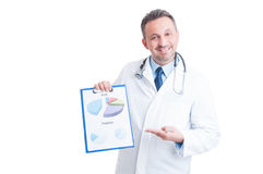 Successful hospital manager, doctor or medic showing financial c royalty free stock photos