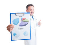 Successful hospital manager, doctor or medic showing profit char Royalty Free Stock Image