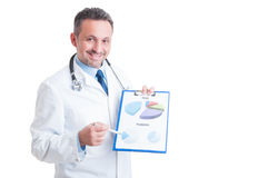 Successful hospital manager, doctor or medic showing profit pred Stock Photo