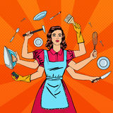 Successful Housewife. Multitasking Woman Royalty Free Stock Image