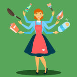 Successful Housewife. Multitasking Woman. Perfect Wife Royalty Free Stock Photos