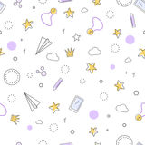 Successful Icons Seamless Pattern. Favourite Items Stock Photos