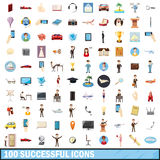100 successful icons set, cartoon style Stock Image