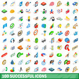 100 successful icons set, isometric 3d style. 100 successful icons set in isometric 3d style for any design vector illustration Royalty Free Stock Image