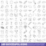 100 successful icons set, outline style Royalty Free Stock Images