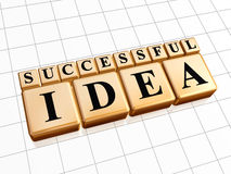 Successful idea in golden cubes Royalty Free Stock Image