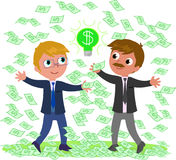 Successful idea for making money. Two businessmen with a lot of money and a good idea, vector illustration Stock Image