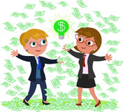 Successful idea for making money. Two businesswomen with a lot of money and a good idea, vector illustration Stock Photo