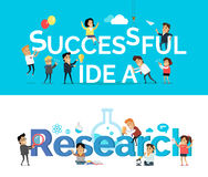 Successful Idea Research Vector Banner Flat Design Royalty Free Stock Photography