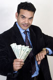Successful Indian business man with money Royalty Free Stock Images