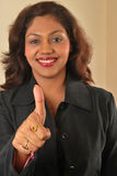 Successful indian business woman. Young happy successful indian business woman with thumbs up Stock Photography