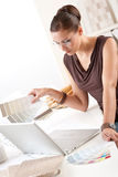 Successful interior designer woman at office  Stock Photos