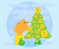 Successful investments bring profits, wealth that allows you to make gifts. Happy Pig piggybank decorate Christmas tree Royalty Free Stock Photos