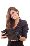 Successful irresponsible rich business girl holding wallet and m. Obile phone smiling Stock Image