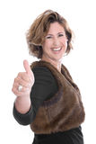 Successful isolated business woman with thumbs up. Royalty Free Stock Photo