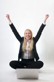 Successful job career. Over joyed Young Girl success at job career Royalty Free Stock Photos