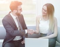 Successful job interview with boss and employee handshaking Royalty Free Stock Images