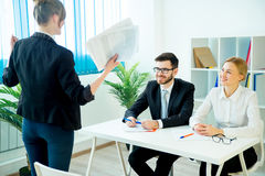 Successful job interview. A young women candidate is happy after successful job interview royalty free stock image