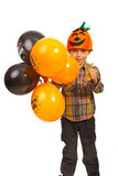 Successful kid with Halloween balloons Royalty Free Stock Image