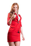 Successful lady in red Royalty Free Stock Photo