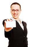 Successful lady showing her business card Stock Image