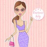 Successful lady. Vector beautiful girl. Attractive woman. Smili stock illustration