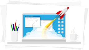 Successful launch of a program, project or business. Modern technology online. A cloud of smoke and rocket launch. royalty free stock photos