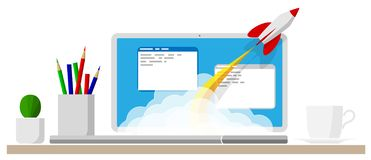 Successful launch of a program, project or business. Modern technology online. A cloud of smoke and rocket launch. stock photography