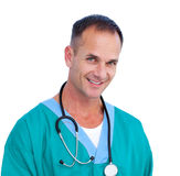 Successful male doctor holding a stethoscope Royalty Free Stock Photography