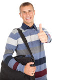 Successful male student with thumb up. Successful male student with laptop bag and thumb up, white background Stock Images