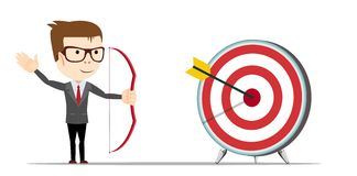 Successful man aiming target with bow and arrow. Successful businessman aiming target with bow and arrow Royalty Free Stock Photos