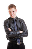 Successful man in black shirt and necktie Stock Photos