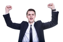 Successful man celebrating with arms up isolated Royalty Free Stock Photos