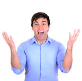 Successful man celebrating with arms up and shouting of joy isol Stock Image
