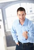 Successful man celebrating happily Royalty Free Stock Photos