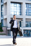Successful man doing business on mobile phone Royalty Free Stock Photo