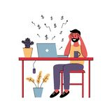 Successful man freelancer works at home. Vector illustration royalty free illustration