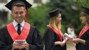 Successful man with higher education smiling to camera, career opportunities. Stock footage stock video footage